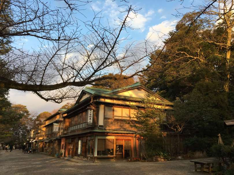 Japanese house under sunset light